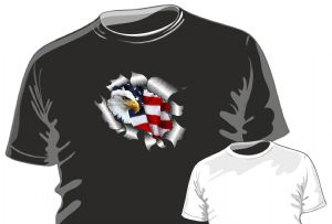 RIPPED TORN METAL Design With American Bald Eagle & US Flag Motif mens or ladyfit t-shirt